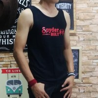 Murah Baju Kaos Singlet Pria Tshirt Distro Remaja Oblong Fila - Hitam
