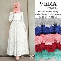 gamis vera brukat putih baju muslim maxi dres baju pesta wanita