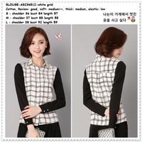 Baju Atasan Wanita Kemeja Korea Import AB236512 Kotak Hitam Putih