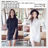 Mini Dress Kemeja Garis Wanita Korea Import AB536554 Hitam Putih Tunik