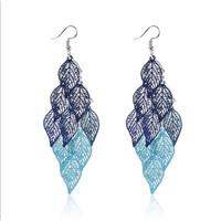 SS11033 - BOHEMIAN HOLLOW LEAVES BLUE EARRINGS - ANTING