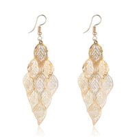 SS11032 - BOHEMIAN HOLLOW LEAVES GOLD EARRINGS - ANTING