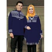 5042 couple atasan kemeja maxi casual baju formal motif ulos navy 7079