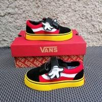 Sepatu Vans Mickey Rafatar Junior Hitam Putih Merah Sneakers Anak