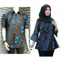 Baju Hem Batik Monochrome Motif Jangkar Hitam PutihAtasan Pria