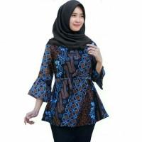 Baju Batik Blouse Kancing Monochrome Motif Jangkar Atasan Wanita