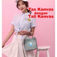 Tas Totebag Wanita kanvas Belanja travel Lipat Polos Tote bag custom 7
