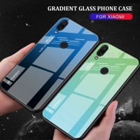 Gradient Glass Case Xiaomi Redmi Note 7 Note7 Back Cover Casing