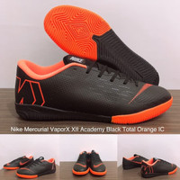 Sepatu Futsal Nike Mercurial Vapor XII Academy Black Total Orange IC
