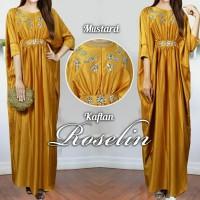 Roselina mustard gold kaftan payet jumbo big size plus baju hamil adem
