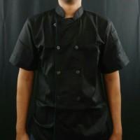 baju koki -chef lengan pendek pria lis navi