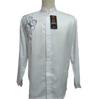 Baju Koko dewasa Tangan panjang motif bordir bulat - M