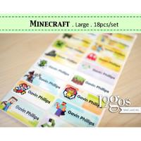 Minecraft LARGE. Stiker label nama waterproof stiker nama anak game