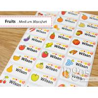Fruits MEDIUM Sticker Label Nama waterproof stiker nama anak buah-buah