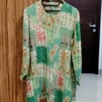 Baju Preloved Blouse Wanita Fit XL Besar Hijau Tosca