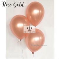 Balon Latex Karet Metalik / Metalic Balloon warna ROSEGOLD 12 inch