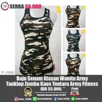 Baju Senam Atasan Wanita Army Tanktop Zumba Kaos Tentara Army Fitness