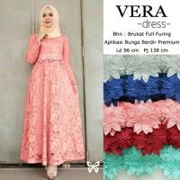 Gamis / Maxi / Baju Dress Wanita Muslim Vera Full Brukat Furing HQ