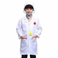 baju dokter kecil anak perempuan/laki laki set stetoskop sesuai gambar