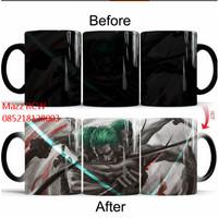 Magic Gelas One Piece Luffy ZORO ACE Color Changing Coffee Mug Heat
