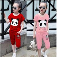 7075 baju stelan anak pink merah panda size XL usia 6th 7th murah lucu