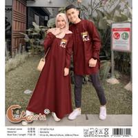 7027 couple muslim pria wanita gamis abaya cowok cewek merah maroon