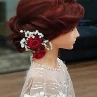Bunga Mawar Dan Babybreath Jepit Hiasan Sanggul