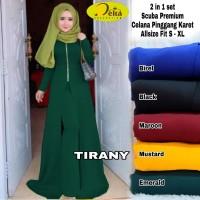Baju setelan wanita muslim celana dan Longtunik Tirany set Delta