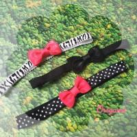 Bandana bayi bando bayi pita seri black pink