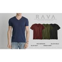 Baju Kaos Polos Pria Vneck Oblong Soft by RAVA ORIGINAL (BEST SELLER)