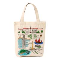 Tote bag / Tas kanvas khas souvenir jakarta Design pulau 1000
