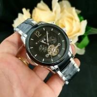 Jam Tangan Pria BVLGARI Fabrique Silver Black Automatic Premium