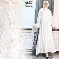 [BEST PRODUCT]Baju Gamis Putih Brukat / Baju Busana Muslim Wanita #825