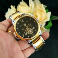 Jam Tangan Pria BVLGARI Fabrique Silver Gold Black Automatic Premium