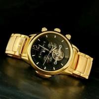 Jam Tangan Pria BVLGARI Fabrique Gold Black Automatic Premium
