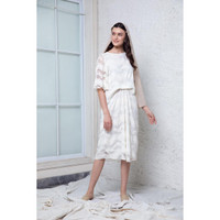 Roselie Lace Shift Tucked Dress White