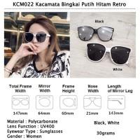 KCM022. Kacamata Bingkai Putih Hitam Retro. Bahan Polycarbonate