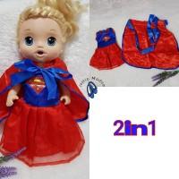 baju supergirl 2in1 buat baby alive size L