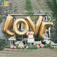 Balon Foil Huruf Angka JUMBO Gold 100cm