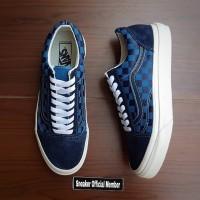 Sepatu Vans Vault OG LX Old Skool Checkerboard Majolica Dress Blue