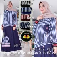 stripy set baju eanita muslim kekinian cantik modis ayu