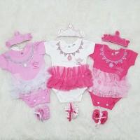 Baju Jumper Anak Bayi Perempuan Romper Tutu Set Bandana Crown