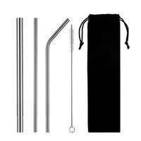 Sedotan Stainless Steel Silver Stainless Straw Pouch Tas Hitam