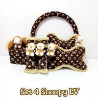 bantal mobil set 4 Snoopy LV Coklat