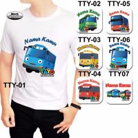 Baju Kaos PUTIH Dewasa tema TAYO The Little Bus