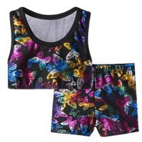 Baju Dance Jazz Senam Anak Crop Top Sport Miniset dan Celana Butterfly