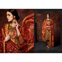 Baju Sari Wanita India Punjabi Premium Cotton motif brown