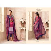 Baju Sari Wanita India Punjabi Premium Cotton motif merah muda