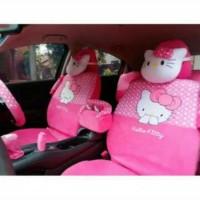 Sarung Jok Mobil Khusus Agya / Ayla Motif Hello Kitty Pink ( Full Set