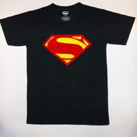 TSHIRT KAOS PRIA SUPERHERO LOGO SUPERMAN SUPER HERO - Hitam